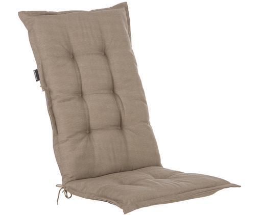 Einfarbige Hochlehner-Stuhlauflage Panama, Bezug: 50% Baumwolle, 50%Polyes, Taupe, 50 x 123 cm