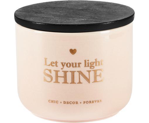 Opbergpot Shine, Pot: keramiek, Deksel: gecoat hout, Zalmkleurig, goudkleurig, zwart, Ø 10 x H 9 cm