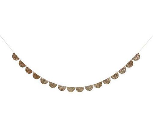 Girlande Glitt, Papier, Baumwolle, Goldfarben, L 300 x H 6 cm