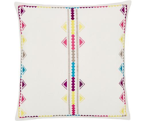 Bunt bestickte Kissenhülle Margo, Baumwolle, Cremeweiß, Mehrfarbig, 45 x 45 cm