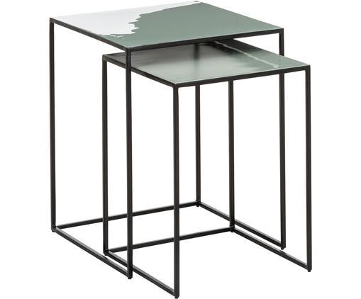 Set tavolini Amalia, 2 pz., Verde salvia, nero