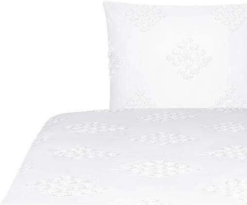 Perkal-Bettwäsche Fia mit getufteter Verzierung, Webart: Perkal, Weiß, 135 x 200 cm
