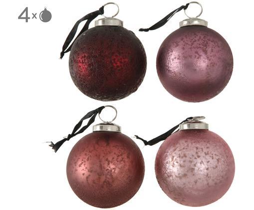 Set palle di natale Amelia, 4 pz., Tonalità rosa, rosso, Ø 8 cm
