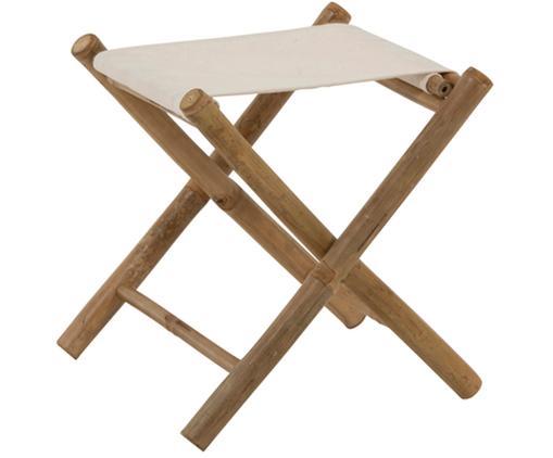 Klappbarer Bambus-Gartenhocker Bindi, Beine: Bambus, naturbelassen, Sitzfläche: Baumwolle, Bambus, Cremefarben, B 40 x T 40 cm