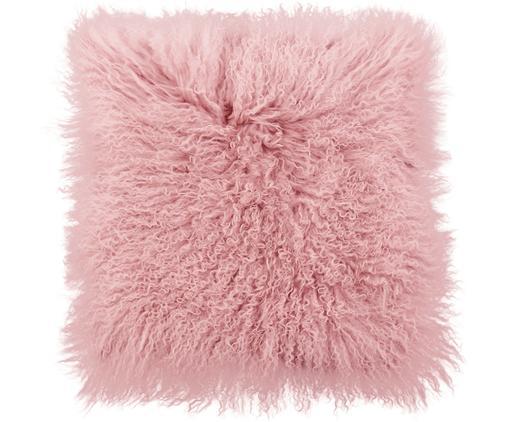 Kussenhoes van langharige schapenvacht Ella, Roze, 40 x 40 cm