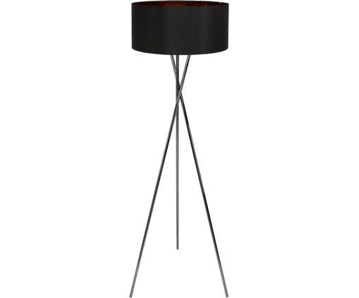 Lámpara de pie Giovanna, Estructura: acero cromado negro, Pantalla: nylon, Negro, cobre, Ø 45 x Al 154 cm
