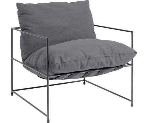 Fauteuil moderne gris Cornwall, Tissu gris