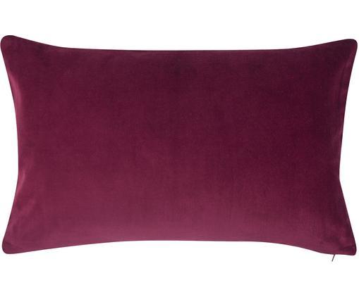 Federa arredo in velluto Alyson, Velluto di cotone, Vino rosso, Larg. 30 x Lung. 50 cm