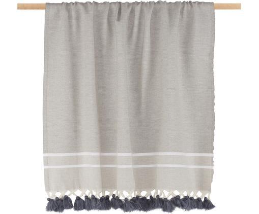 Manta Stockholm, Algodón, Gris perla, blanco, An 100 x L 200 cm