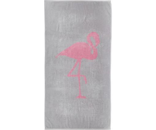 Ręcznik plażowy Mina, Bawełna Niska gramatura 380 g/m², Szary, różowy, S 80 x D 160 cm