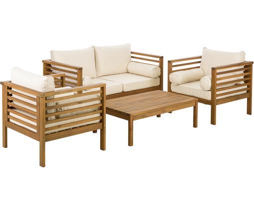 Garten-Lounge-Set Bo, 4-tlg., Bezüge: BeigeGestelle: Akazienholz, Sondergrößen