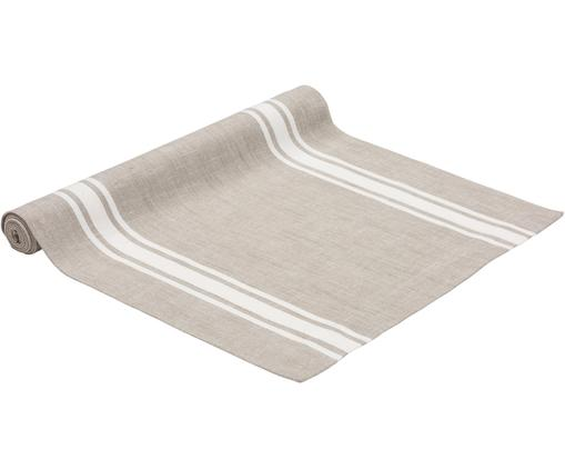 Runner New French, Cotone, Taupe, bianco, P 50 x L 140 cm