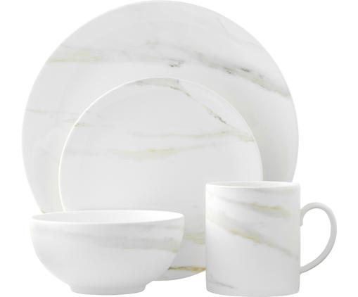 Geschirr-Set Venato Imperial in Marmor-Optik, 4-tlg., Fine Bone China in Marmor-Optik, Weiß, marmoriert, Sondergrößen
