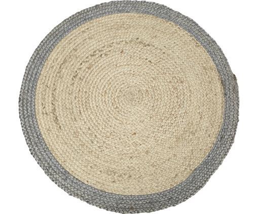 Runder Jute-Teppich Shanta mit grauem Rand, handgefertigt, Beige, Grau, Ø 100 cm (Größe XS)