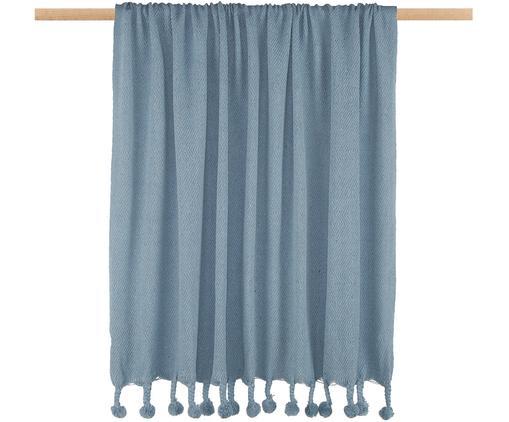 Plaid Sorbet aus recycelter Baumwolle mit Pompoms, Recyceltes Material aus der Modeindustrie in verschiedenen Farben, 100% Baumwolle, Blau, 130 x 186 cm