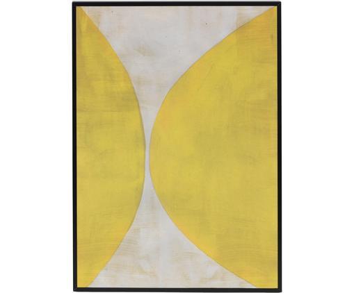 Stampa digitale incorniciata Reri, Immagine: carta riciclata, Cornice: pannello di fibra a media, Giallo, crema, Larg. 25 x Alt. 35 cm