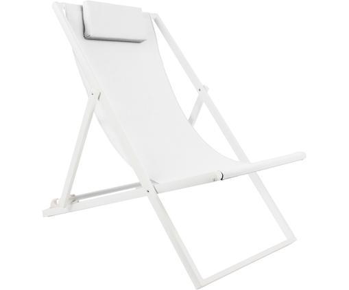 Sedia a sdraio Cali, Rivestimento: 70% polivinilcloruro (PVC, Struttura: alluminio, verniciato a p, Struttura: bianco, opaco Rivestimento: bianco, Larg. 55 x Prof. 96 cm