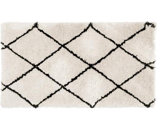 Alfombra artesanal Naima, Parte superior: 100%poliéster, Reverso: 100%algodón, Beige, negro, An 80 x L 150 cm (Tamaño XS)