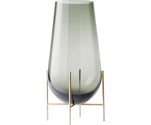 Vaso di design Échasse, Struttura: ottone, Vaso: vetro soffiato, Ottonato, grigio, Ø 15 x Alt. 28 cm