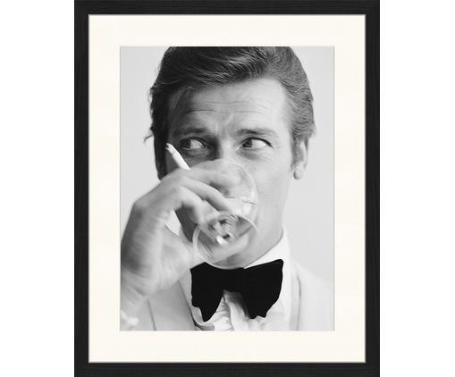 Gerahmter Digitaldruck James Bond Drinking, Bild: Digitaldruck auf Papier, , Rahmen: Holz, lackiert, Front: Plexiglas, Bild: Schwarz, Weiß Rahmen: Schwarz, 43 x 53 cm