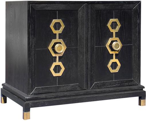 Cómoda Turner Cabinet, Estructura: madera de fresno, cepilla, Color ceniza, negro, dorado, An 91 x Al 81 cm