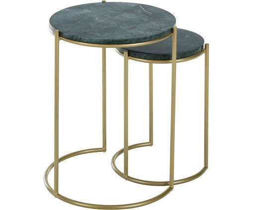 Set 2 tavolini in marmo Ella, Ripiani: pietra naturale di marmo, Struttura: metallo verniciato a polv, Piani d'appoggio: marmo verde Struttura: dorato opaco, Diverse dimensioni