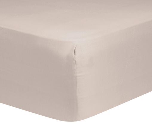 Prześcieradło z gumką na łóżko kontynentalne z satyny bawełnianej Comfort, Taupe, S 90 x D 200 cm