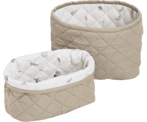 Set de cestas Fawn, 2pzas., Exterior: algodón orgánico, Blanco, marrón, beige, Tamaños diferentes