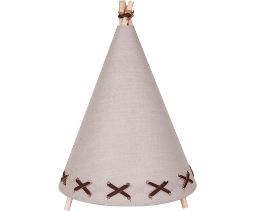 LED Tischleuchte Tipi aus Leinen, Gestell: Holz, Lampenschirm: Leinen, Hellbraun, Beige, Ø 20 x H 29 cm