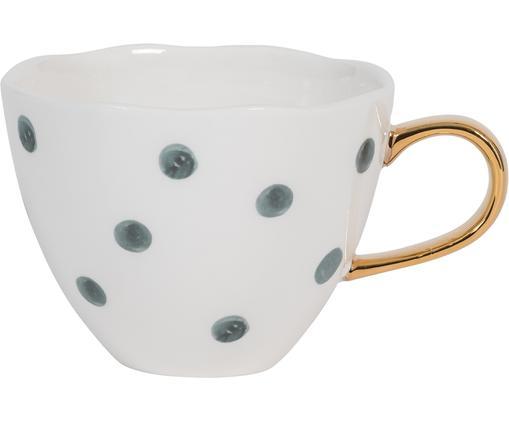 Tasse Good Morning mit goldenem Griff, Keramik, Weiß, Blau, Ø 11 x H 8 cm