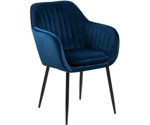 Krzesło z podłokietnikami z aksamitu Emilia, Tapicerka: aksamit poliestrowy 2500, Nogi: metal lakierowany, Ciemnyniebieski, czarny, S 57 x G 59 cm