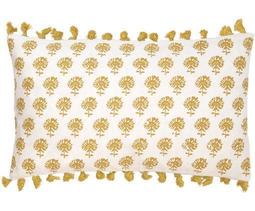 Kissenhülle Poesy mit Quasten, Baumwolle, Weiß, Gelb, 30 x 50 cm