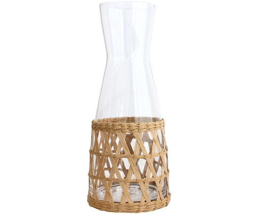 Caraffa fatta a mano con vimini decorativo, Decorazione: di vimini, Trasparente, marrone chiaro, 1 l