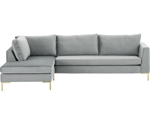 Samt-Ecksofa Luna, Bezug: Samt (Polyester) 80.000 S, Gestell: Massives Buchenholz, Füße: Metall, galvanisiert, Samt Hellgrau, Gold, B 280 x T 184 cm