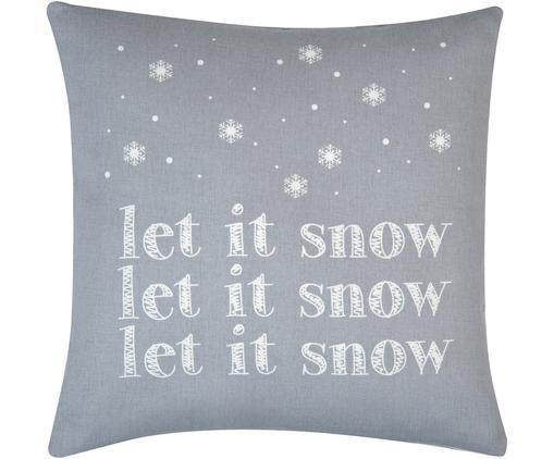 Kissenhülle Snow in Grau/Weiß mit Schriftzug, Baumwolle, Panamabindung, Grau,Ecru, 40 x 40 cm