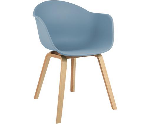 Krzesło z tworzywa sztucznego z podłokietnikami Claire, Nogi: drewno bukowe, Siedzisko: niebieski Nogi: drewno bukowe, S 61 x G 58 cm
