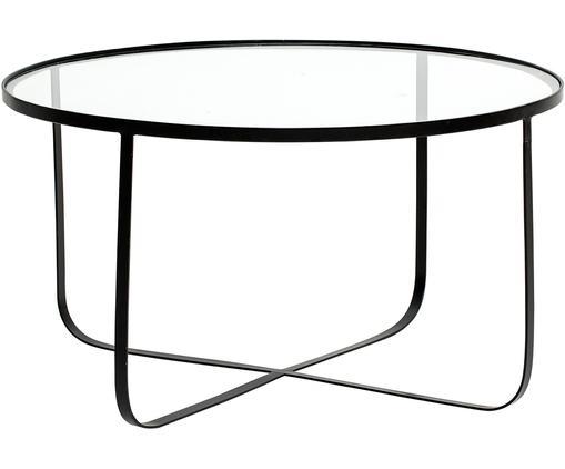 Stolik kawowy z metalu ze szklanym blatem Harper, Stelaż: metal malowany proszkowo, Blat: szkło, Czarny, Ø 80 x W 43 cm