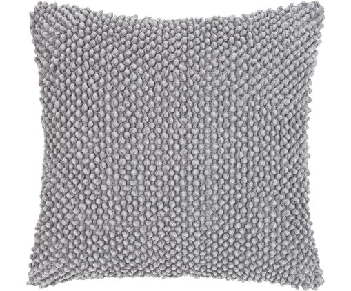 Kissenhülle Indi mit strukturierter Oberfläche, Baumwolle, Hellgrau, 45 x 45 cm