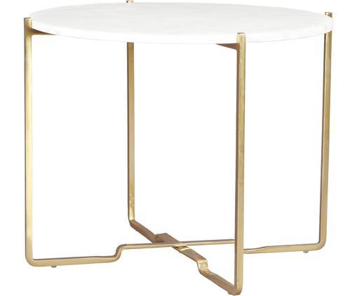 Runder Marmor-Beistelltisch Margot, Tischplatte: Weißer MarmorGestell: Goldfarben