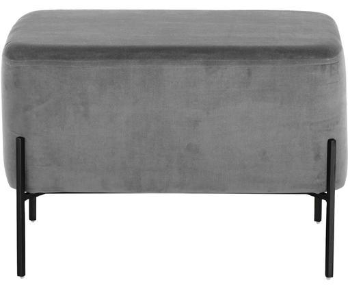 Pouf grande in velluto Harper, Rivestimento: velluto, Grigio, nero, Larg. 64 x Alt. 44 cm
