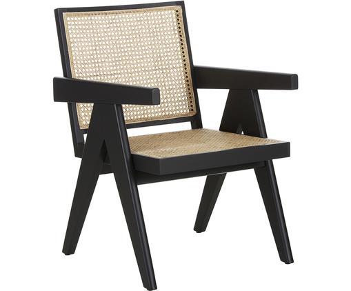 Loungesessel Sissi mit Wiener Geflecht, Gestell: Buchenholz, lackiert, Sitzfläche: Rattan, Schwarz, Beige, B 58 x T 66 cm