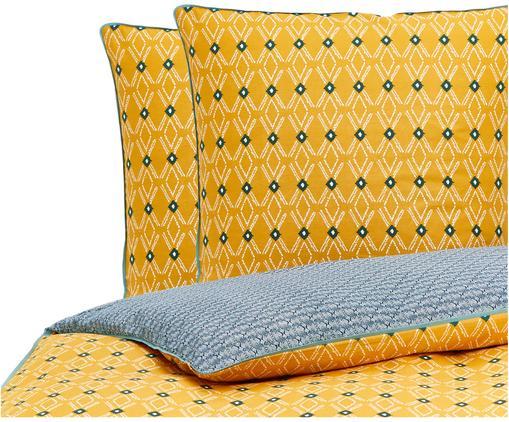 Parure de lit en coton Borneo, Jaune, vert, blanc, bleu