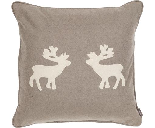 Cuscino in feltro di lana Sister Reindeer, Sabbia, bianco incrinato, Larg. 45 x Lung. 45 cm