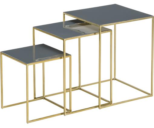 Set tavolini Amalia, 3 pz., Ripiani: grigio struttura: dorato