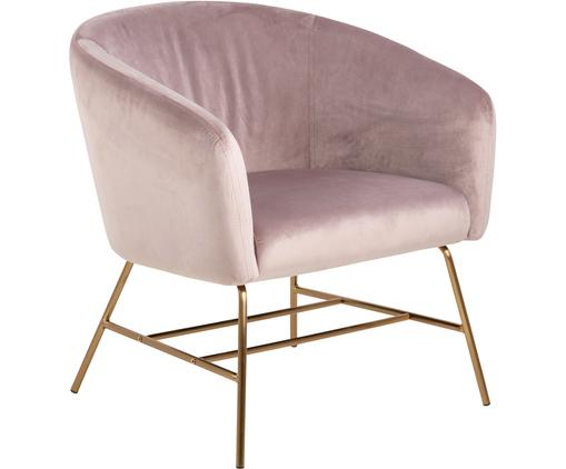 Fauteuil cocktail moderne en velours rose Ramsey, Velours rose