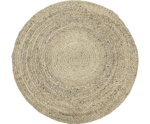 Ručně vyrobený kulatý koberec zjuty Sharmila, Béžová