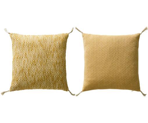 Gemustertes Kissenhüllen 2er Set Fancy mit Quasten, Baumwolle, Gelb, gebrochenes Weiß, 45 x 45 cm