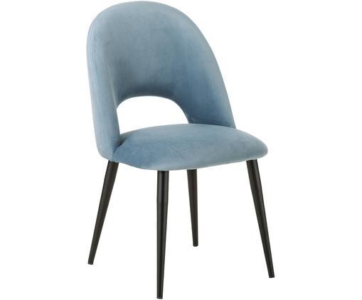 Chaise rembourrée en velours Rachel, Velours bleu ciel