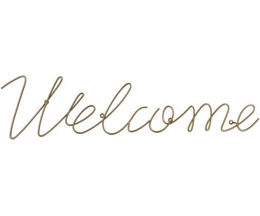 Decoración de pared Welcome, Metal recubierto, Latón, An 72 x Al 20 cm