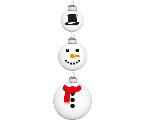 Weihnachtskugel-Set Frosty Snowman, 3-tlg., Glas, Weiß, Schwarz, Rot, Sondergrößen